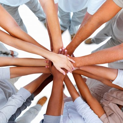 Hands overlapped-showing unity