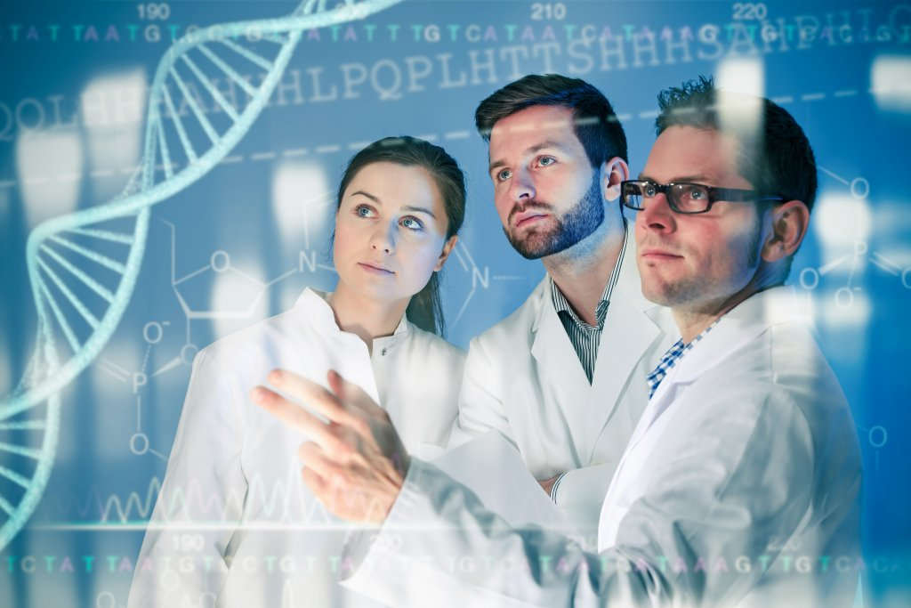 scientists examine dna on screen